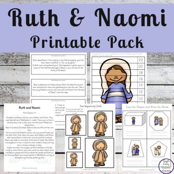 This Ruth and Naomi printable pack is a great way to teach young children, in preschool and kindergarten this amazing story.
