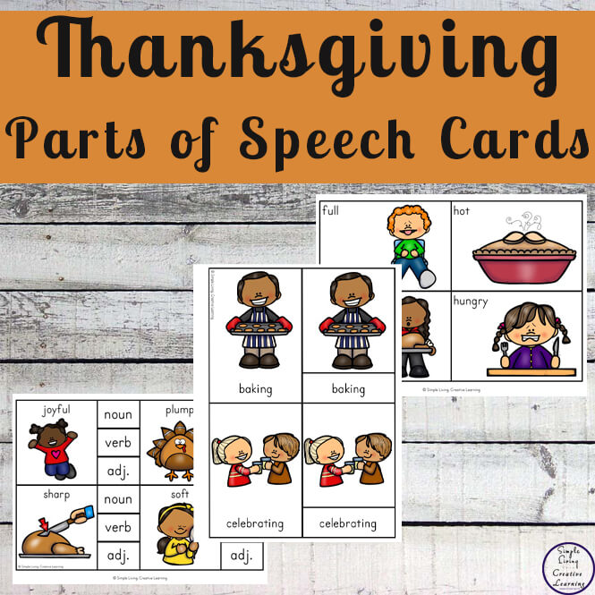 Thanksgiving Parts of Speech Cards