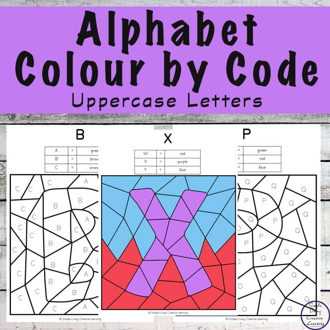 This No-Prep Uppercase Alphabet Letters Colour by Code Colouring Pack is great for children learning the letters of the alphabet.