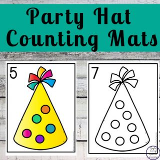 Focusing on the numbers 1 - 20, these Party Hat Counting Mats are a fun, hands-on math activity that preschoolers and toddlers will love.