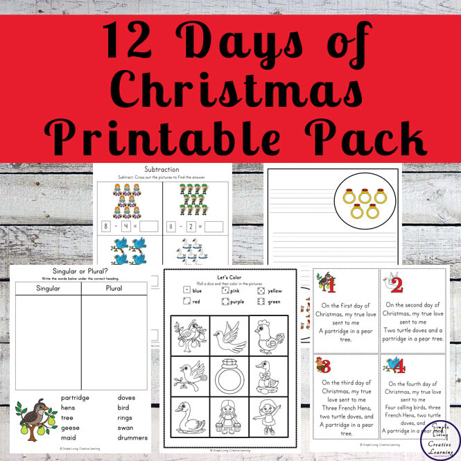 image about 12 Days of Christmas Printable named 12 Times of Xmas Printable Pack - Straightforward Residing