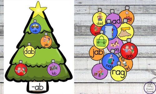 Learn or review CVC words by matching the decorations with the correct vowel sound with this fun Christmas Tree CVC match activity.