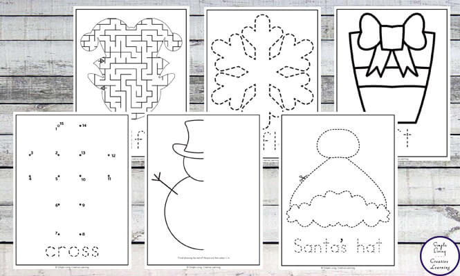These Christmas Themed Worksheets  are great for kids in preschool and kindergarten. They are easy to prepare / print and will help improve your child's fine motor skills.