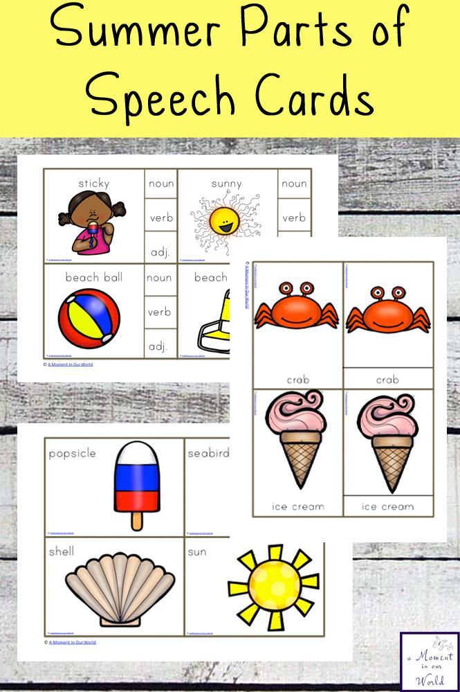 These Summer Parts of Speech Cards are a great way to introduce children to nouns, verbs and adjectives.