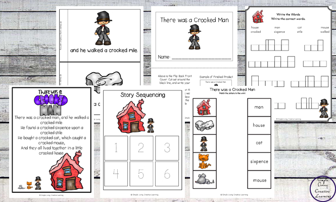 This There was a Crooked Man printable pack is aimed at children in kindergarten and preschool and includes over 80 pages of fun and learning.