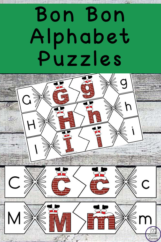 These Bon Bon Alphabet Puzzles are a great way to practice or review uppercase and lettercase letters this festive season.