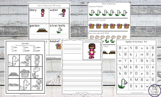 This Mary, Mary Quite Contrary printable pack is aimed at children in kindergarten and preschool and includes over 80 pages of fun and learning.