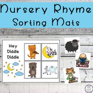 These Nursery Rhyme sorting mats are the perfect way for toddlers, kindergarteners and preschoolers topractice rhyme and rhythm and sorting at the same time!