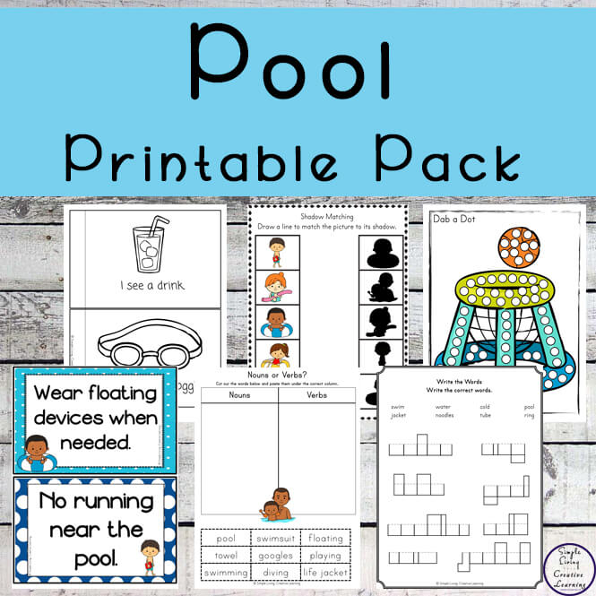 This pool printable pack includes math & literacy activites as well as water safety posters to help teach children about being safe when near or in water.