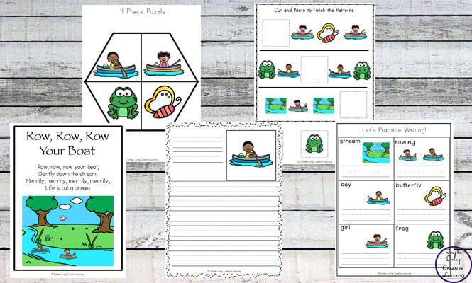 This Row, row, row your boat printable pack is aimed at children in kindergarten and preschool and includes over 80 pages of fun and learning.
