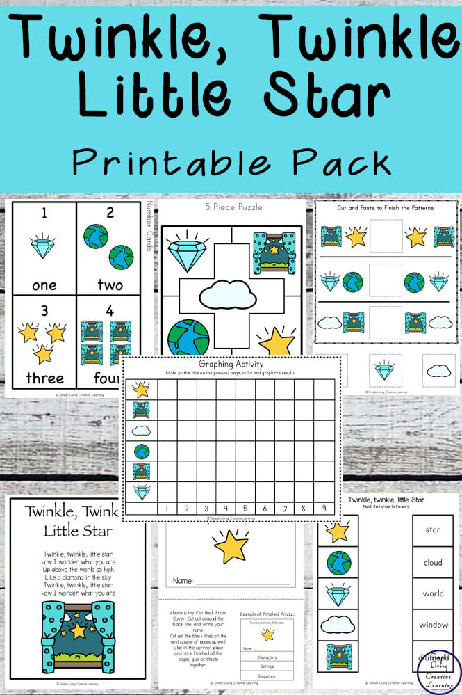 This Twinkle, Twinkle Little Star printable pack is aimed at children in kindergarten and preschool and includes over 80 pages of fun and learning.