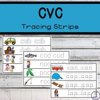 These CVC Tracing strips are a great way to introduce children to CVC (consonant - vowel - consonant) words while they practice their fine motor skills.