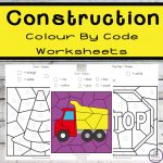 These Construction Colour by Shape Worksheets are an engaging way to practice shape and colour recognition while working on fine motor skills.