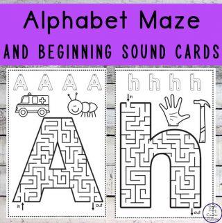 Alphabet Maze and Beginning Sound Cards