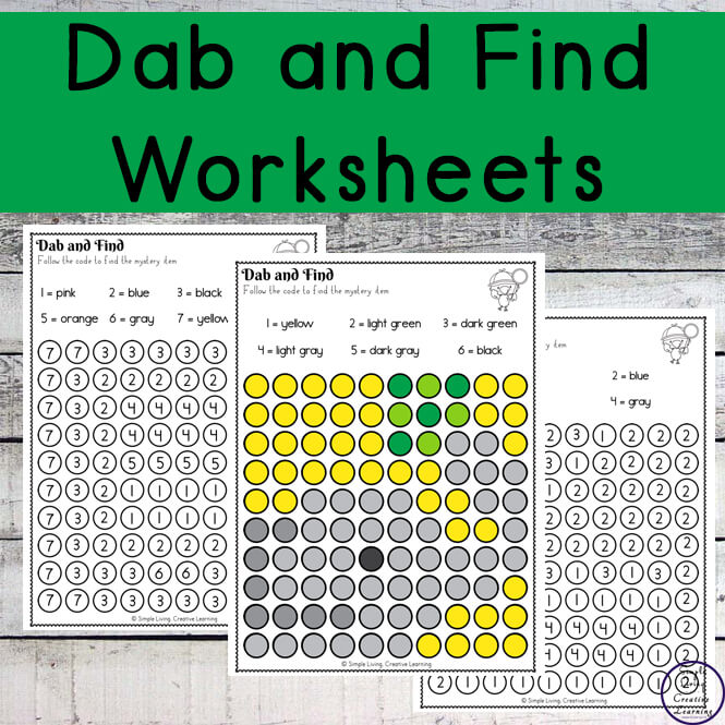 As children complete these Dab and Find Mystery Items worksheets, they will be working on their fine motor skills, number sense as well as working on learning their colours.