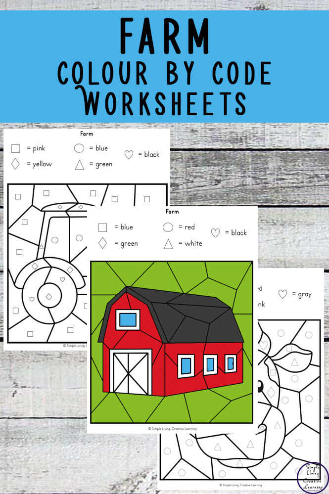 Farm Colour by Shape Worksheets