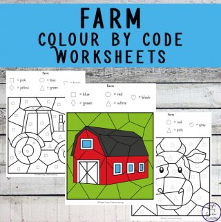These Farm Colour by Shape Worksheets are an engaging way to practice shape and colour recognition while working on fine motor skills.