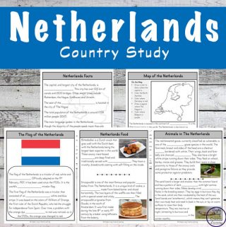 The Netherlands is such a fascinating country to learn about with their Delft Blue pottery and wooden shoes, this Netherlands Country Study will be enjoyed by all children in grades 2 - 5.