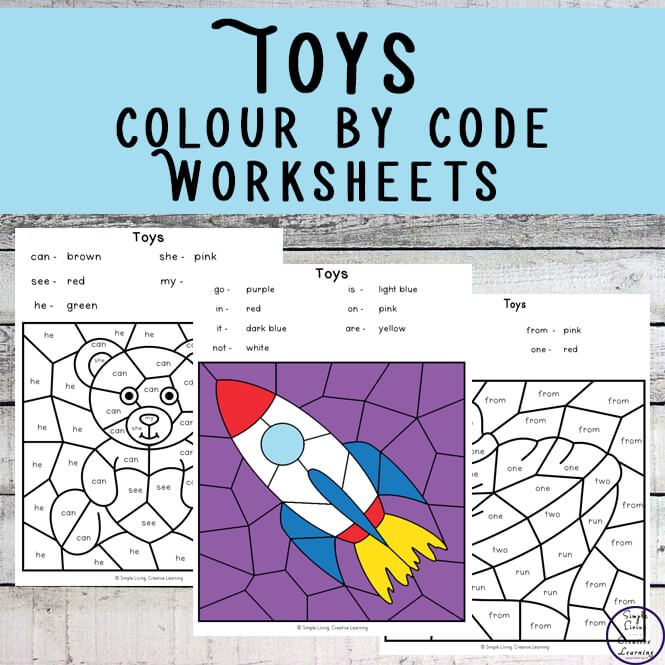 These Toy Colour by Shape Worksheets are an engaging way to practice shape and colour recognition while working on fine motor skills.