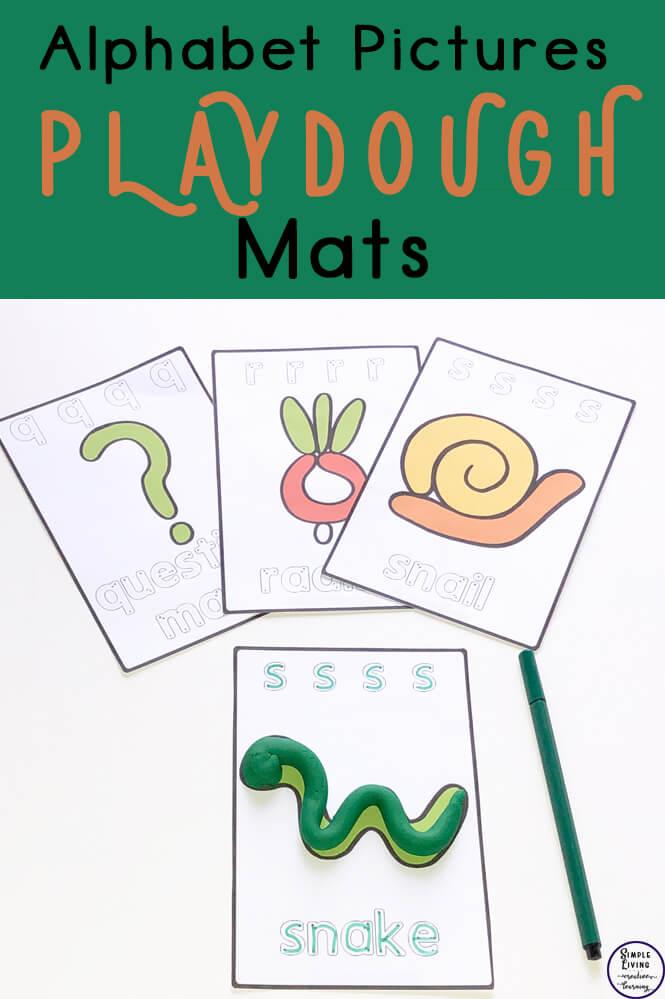 image regarding Printable Playdough Mats identified as Alphabet Pics Playdough Mats - Basic Residing. Artistic