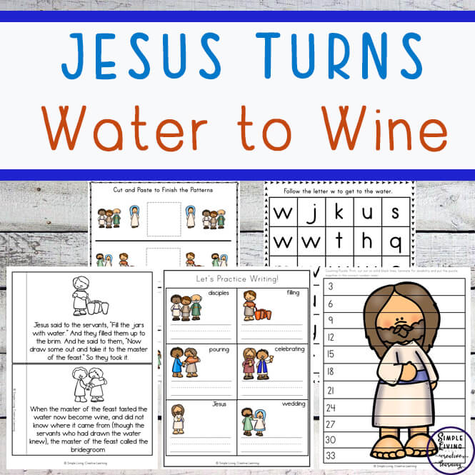 This Jesus Turns Water to Wine Printable Pack is aimed at children in kindergarten and preschool and includes over 100 pages of fun and learning. It is a great way for young children to learn the story of Jesus' first miracle.