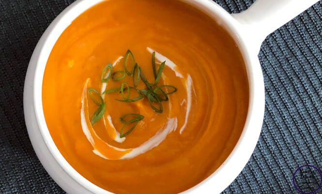 This slowcooker Sweet Potato Soup is delicious served with crusty bread on a cool, winter's night.
