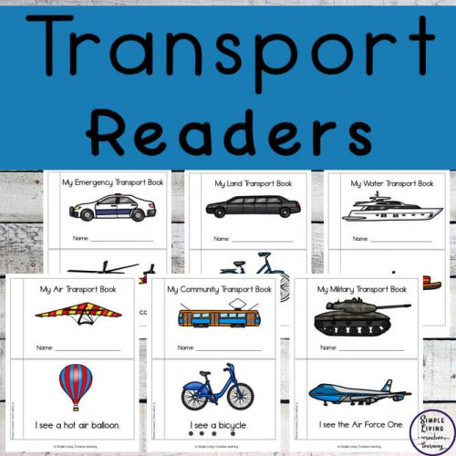 Children will love learning to read with these six different themed transport easy read books ~ air, community, emergency, land, military and water.