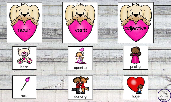 These Valentine Parts of Speech Matching Cards are a great way to introduce children to nouns, verbs and adjectives.