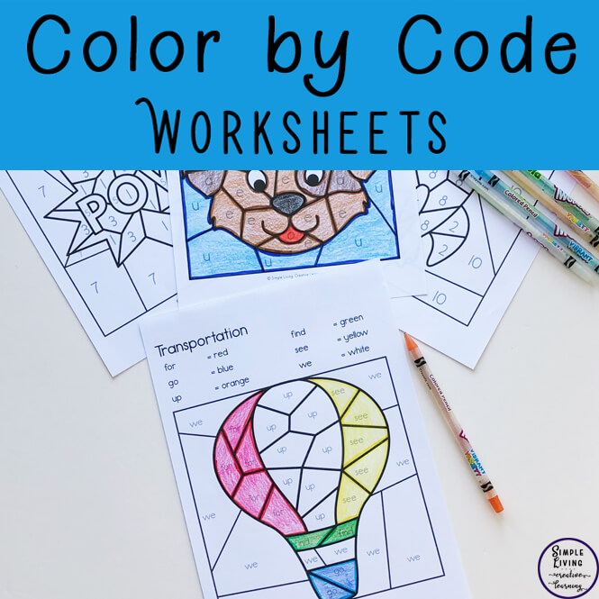 Colour By Code Worksheets are a fun way to practice learning letters of the alphabet, sight words or numbers while working on fine motor skills. They are perfect for pre-k, kindergarten or first grade students. You can use as classroom activities, morning work, homework, word work and literacy centers.