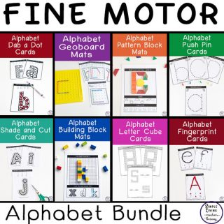 The mats and cards in this Fine Motor ~ Alphabet Themed Bundle are great for working on fine motor skills which is an important skill for kids in preschool and kindergarten.