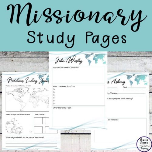 These Missionary Study Pages are a great way for children to learn about 49 missionaries who travelled around the world spreading the Gospel.