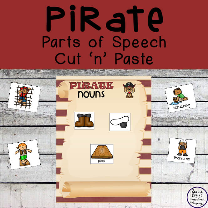 Pirate Parts of Speech Cut 'n' Paste Activity