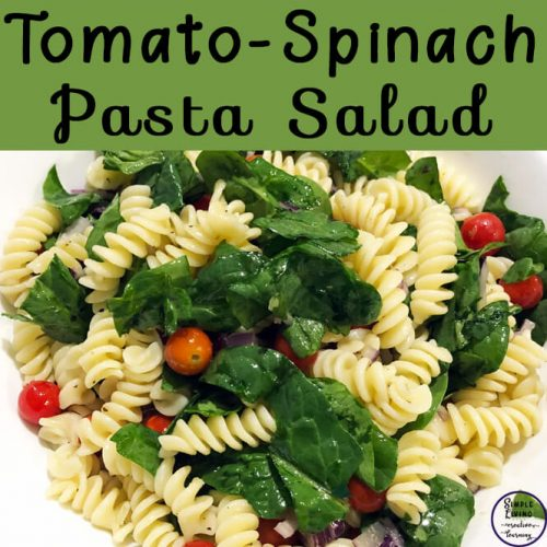 This tomato-spinach pasta salad is quick and easy to throw together and would be a great addition to any bbq, picnic or pot luck meal.