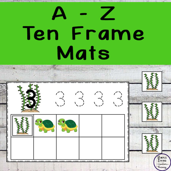 These fun A - Z Ten Frame Mats help kids practice their counting and number recognition skills as well as introducing them to the concept of the ten frame.