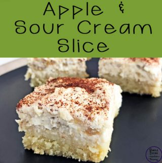 This delicate apple and sour cream slice is easy to make with only five ingredients and will be thoroughly enjoyed by all who taste it!