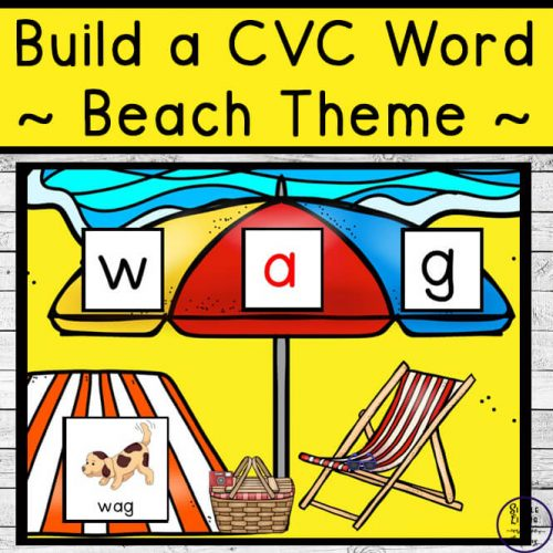 Kids will love learning and practicing 42 different CVC words with this summer beach themed Build a CVC Word printable pack.