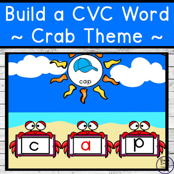 Kids will love learning and practicing 42 different CVC words with this summer crab themed Build a CVC Word printable pack.