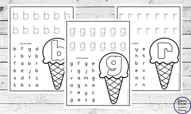 Ice Cream Themed Alphabet Worksheets - Simple Living. Creative Learning