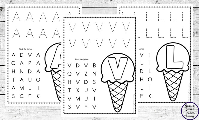 These ice cream themed alphabet worksheets are a great way for children to practice letter recognition and work on their handwriting skills.