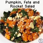 This delicious pumpkin, feta and rocket salad is a lovely side dish that goes well alongside a bbq or as part of a pot luck dinner.