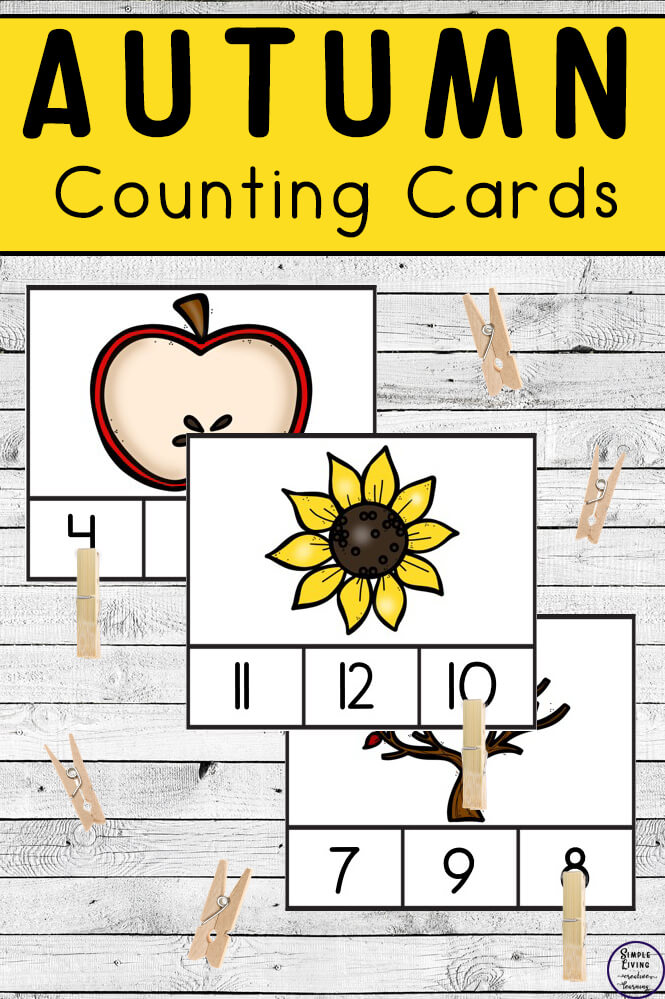 Preschoolers and toddlers will love these Autumn / Fall Counting Cards! This hands-on activity is fun and can be used multiple times. This activity focuses on counting the numbers 1 – 10.