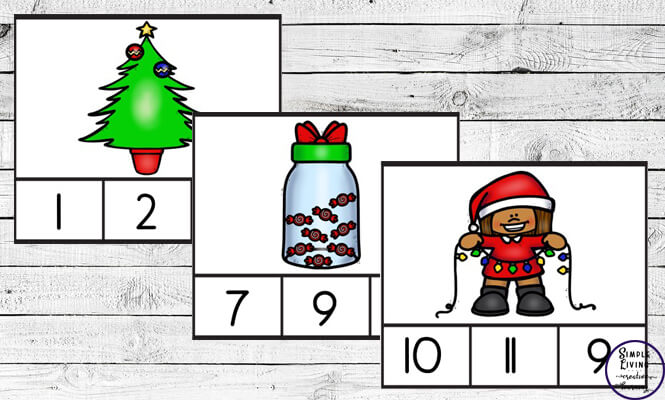Preschoolers and toddlers will love these Christmas Counting Cards! This hands-on activity is fun and can be used multiple times. This activity focuses on counting the numbers 1 – 10.
