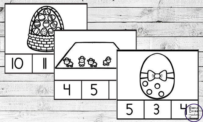Preschoolers and toddlers will love these Easter Counting Cards! This hands-on activity is fun and can be used multiple times. This activity focuses on counting the numbers 1 – 10.