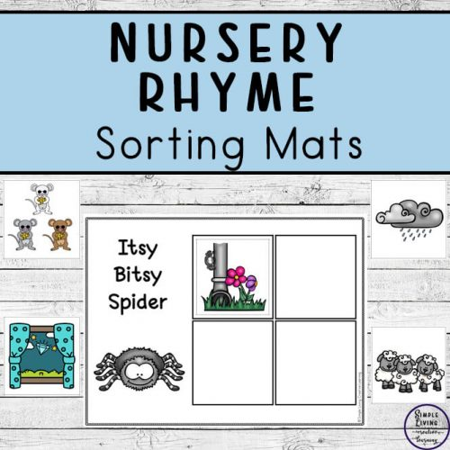 These Nursery Rhyme sorting mats are the perfect way for toddlers, kindergarteners and preschoolers to practice rhyme and rhythm and sorting at the same time!