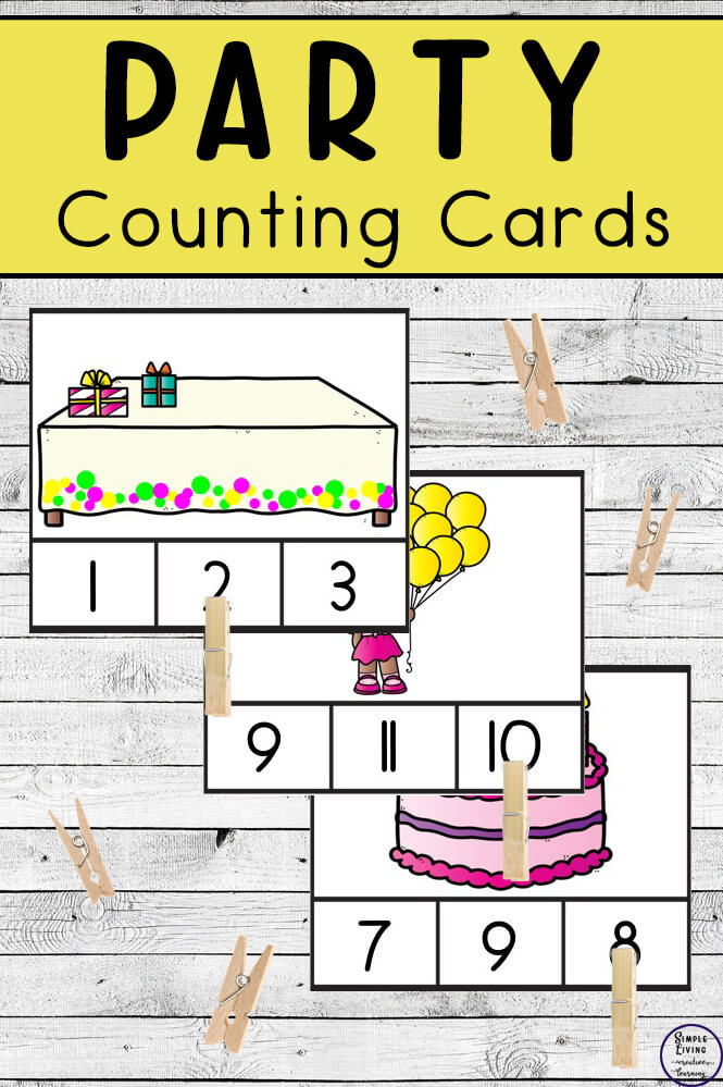 Preschoolers and toddlers will love these Party Counting Cards! This hands-on activity is fun and can be used multiple times. This activity focuses on counting the numbers 1 – 10.