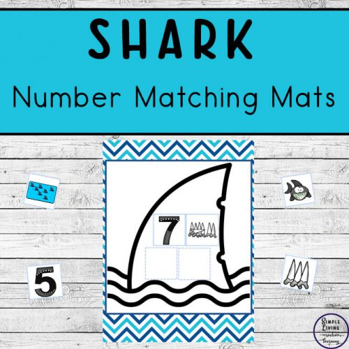 These fun Shark Number Matching Mats are a great way for young children to practice counting to ten, while working on their matching skills as well as their number recognition skills.