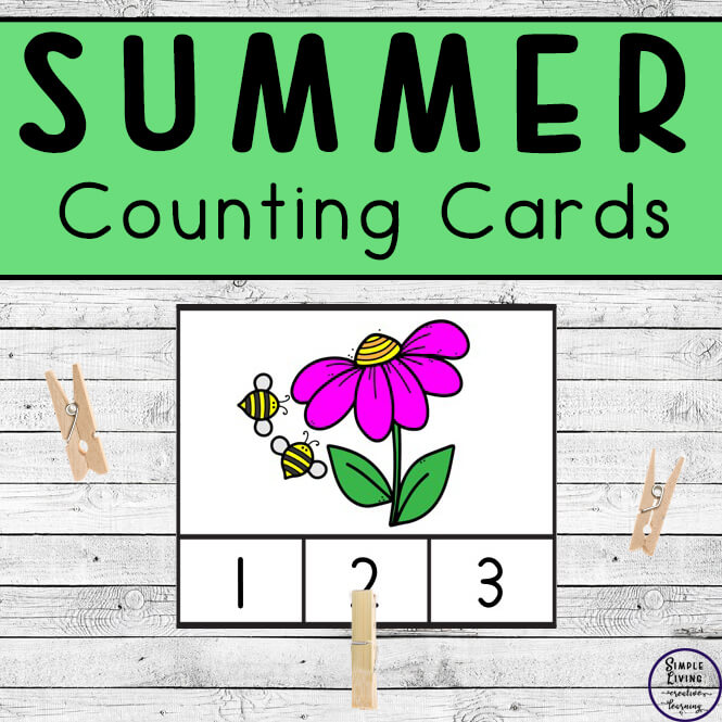 Preschoolers and toddlers will love these Summer Counting Cards! This hands-on activity is fun and can be used multiple times. This activity focuses on counting the numbers 1 – 10.