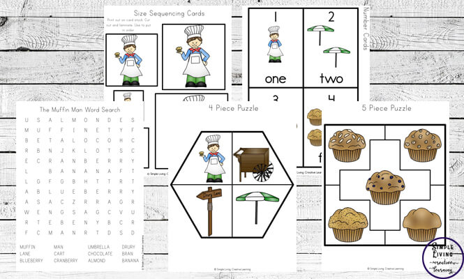 This Muffin Man printable pack is a great nursery rhyme for young children to learn, especially great for practicing their counting.
