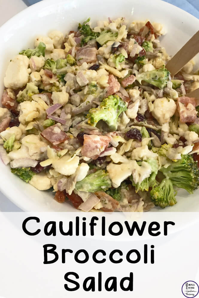 This delicious Cauliflower Broccoli Salad is a great dish to take to a BBQ, picnic, potluck meals, parties or family gatherings.