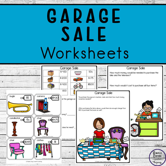 Learning about purchasing items with money is a great skill for kids to have. These Garage Sale Worksheets are a great hands-on approach, combined with some worksheets to help children learn money.